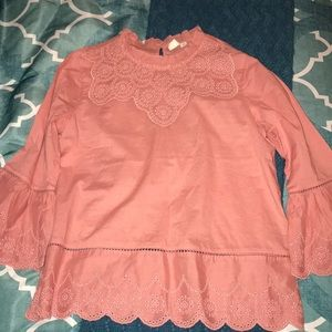 Pink bell sleeved top